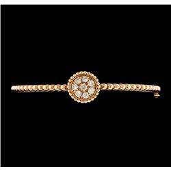 0.54 ctw Diamond Bangle Bracelet - 14KT Rose Gold