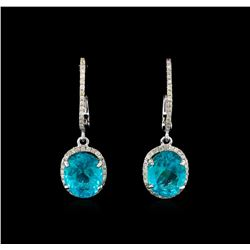 6.35 ctw Apatite and Diamond Earrings - 14KT White Gold