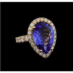 9.00 ctw Tanzanite and Diamond Ring - 14KT Yellow Gold