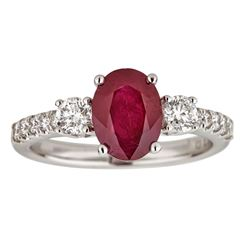 2.14 ctw Ruby and Diamond Ring - 18KT White Gold