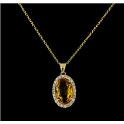 4.08 ctw Citrine and Diamond Pendant With Chain - 14KT Yellow Gold
