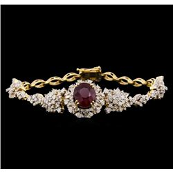 5.04 ctw Ruby and Diamond Bracelet - 14KT Yellow Gold