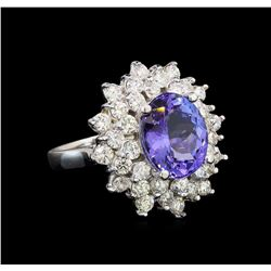 14KT White Gold 5.05 ctw Tanzanite and Diamond Ring