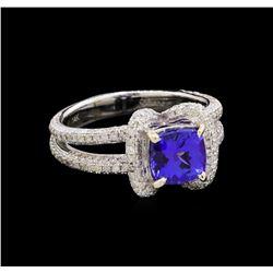 14KT White Gold 1.42 ctw Tanzanite and Diamond Ring