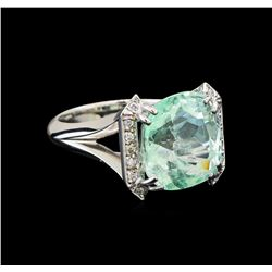GIA Cert 7.57 ctw Emerald and Diamond Ring - 14KT White Gold