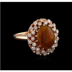 3.18 ctw Opal and Diamond Ring - 14KT Rose Gold