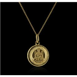 8-14KT Yellow Gold Religious Pendant With Chain