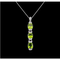 Crayola 7.80 ctw Peridot and White Sapphire Pendant With Chain - .925 Silver