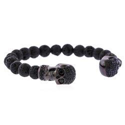 Cozmo Sterling Silver Black Crystal Skull Cuff Bracelet