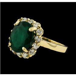 4.40 ctw Emerald and Diamond Ring - 14KT Yellow Gold