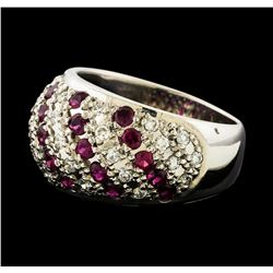 1.15 ctw Diamond and Ruby Ring - Platinum