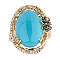 8.76 ctw Turquoise and Diamond Ring - 14KT Yellow Gold