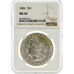 1886 NGC MS64 Morgan Silver Dollar