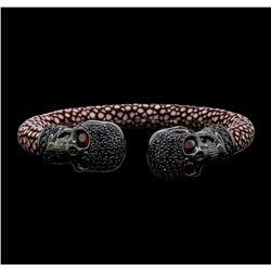 Cozmo Sterling Silver Crystal Skull Cuff Bracelet