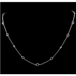 1.98 ctw Blue Sapphire and Diamond Necklace - 18KT White Gold