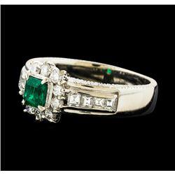 0.38 ctw Emerald and Diamond Ring - Platinum