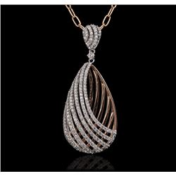 14KT Two-Tone Gold 1.14 ctw Diamond Pendant With Chain