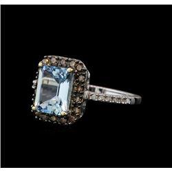 2.23 ctw Aquamarine and Diamond Ring - 14KT White Gold