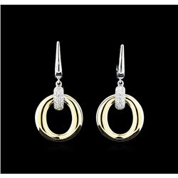 0.33 ctw Diamond Earrings - 14KT Yellow and White Gold