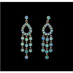 3.80 ctw Opal Earrings - 18KT Yellow Gold