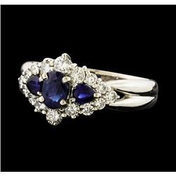 0.93 ctw Sapphire and Diamond Ring - Platinum