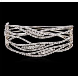 14KT White Gold 3.99 ctw Diamond Bangle Bracelet
