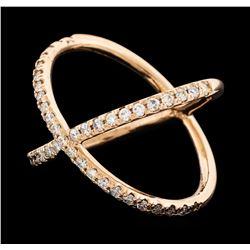 0.48 ctw Diamond X Ring - 14KT Rose Gold