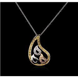 18KT Tri Color Gold 0.20 ctw Diamond Pendant With Chain