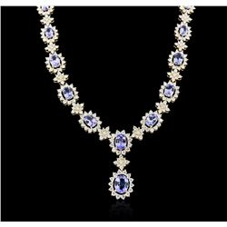 14KT Yellow Gold 10.54 ctw Tanzanite and Diamond Necklace