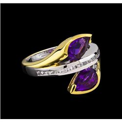 Crayola 2.20 ctw Amethyst and White Sapphire Ring - .925 Silver