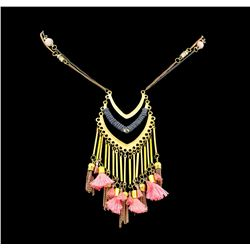 V Chandelier Chain Necklace - Gold Plated