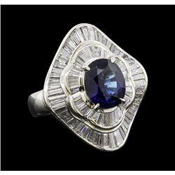 3.21 ctw Sapphire and Diamond Ring - Platinum