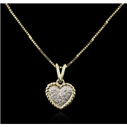 14KT Yellow Gold 0.10 ctw Diamond Heart Pendant With Chain
