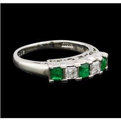 0.35 ctw Emerald and Diamond Ring - Platinum