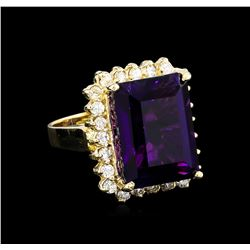 13.15 ctw Amethyst and Diamond Ring - 14KT Yellow Gold