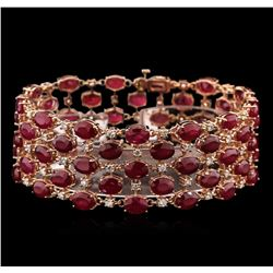 63.05 ctw Ruby and Diamond Bracelet - 14KT Rose Gold
