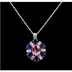 14KT White Gold 2.65 ctw Tourmaline, Sapphire and Diamond Pendant With Chain