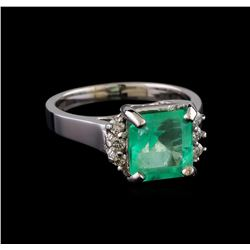 3.36 ctw Emerald and Diamond Ring - 14KT White Gold