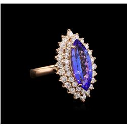 3.40 ctw Tanzanite and Diamond Ring - 14KT Rose Gold