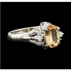 1.17 ctw Imperial Topaz and Diamond Ring - Platinum