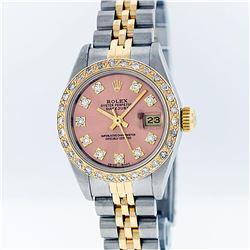 Rolex Two-Tone VVS Salmon Diamond DateJust Ladies Watch