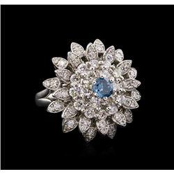 2.28 ctw Fancy Greenish Blue Diamond Ring - 14KT White Gold