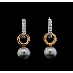 Pearl and Diamond Earrings - 14KT White and Rose Gold