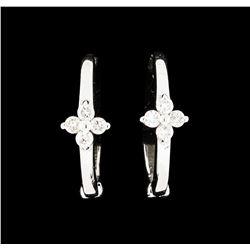 0.10 ctw Diamond Hoop Earrings - 14KT White Gold
