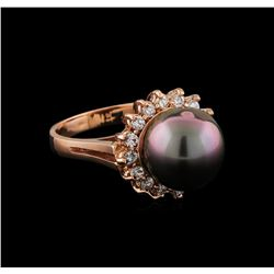Pearl and Diamond Ring - 14KT Rose Gold