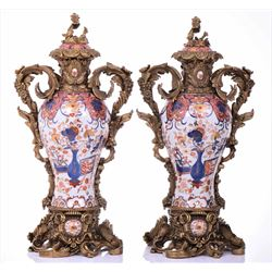 Two Vintage Chinese Decorative Urns Made With