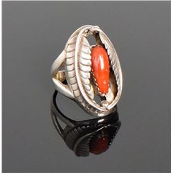 Q.C., Native American Red Coral Sterling Silv