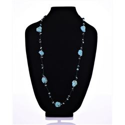 Native American Blue Turquoise And Black Onyx