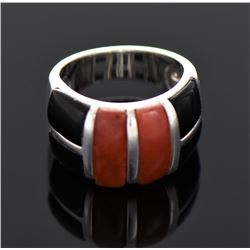 Native American Red Coral And Black Onyx Ster
