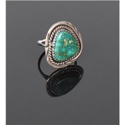 Old Pawn Green Turquoise Sterling Silver Ring